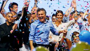 Recently elected President of Argentina celebrating victory